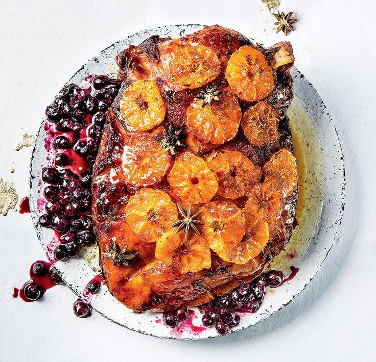 Naartjie-glazed gammon with blueberries and star anise | Woolworths TASTE