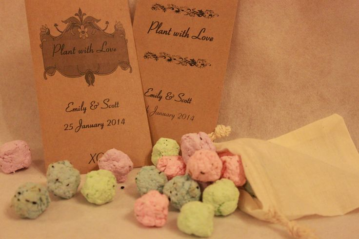 Seedsbombs are made from a mix of prennial and annual flowers, vegetables or herbs. Just dip, throw and grow in an empty space. Your guests get to take away some garden candy as a memory of your special day. These cute seed bombs come in a varoety of colours and packaging to creat a lasting memory.
