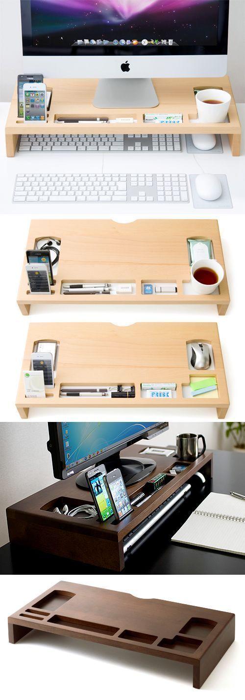 Wood Monitor iMac Stand Stationery Desk Organizer Pen #woodmonit #W … #WoodWorking