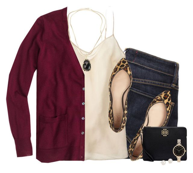 """""""J.crew burgundy cardigan & silk cami with leopard flats"""" by steffiestaffie ❤ liked on Polyvore featuring Marc by Marc Jacobs, J.Crew, Tory Burch, Kendra Scott, Blue Nile, women's clothing, women, female, woman and misses"""