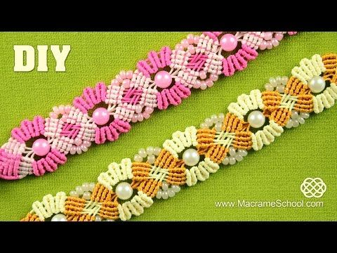 ▶ Blooming Macramé Bracelet with Beads - YouTube
