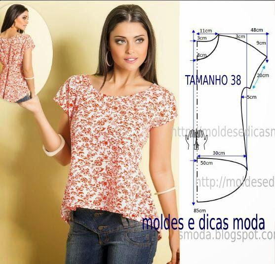 A escolha de hoje tem como tema a blusa casual com molde que vai ser publicada no tamanho 38. A ilustração do molde blusa não tem valor de costura.