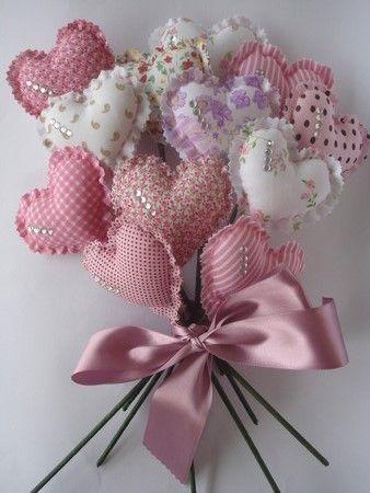 fabric scraps made into heart shape designs bouquet