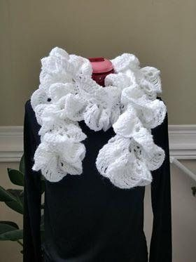 Check out this item in my Etsy shop https://www.etsy.com/listing/606054857/ruffle-scarfcrochet-scarffashion-white