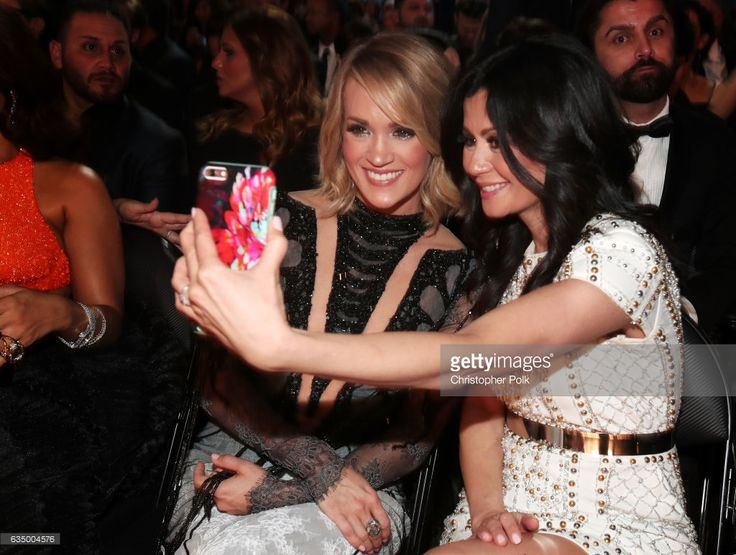 Singer Carrie Underwood (L) during The 59th GRAMMY Awards at STAPLES Center on February 12, 2017 in Los Angeles, California.