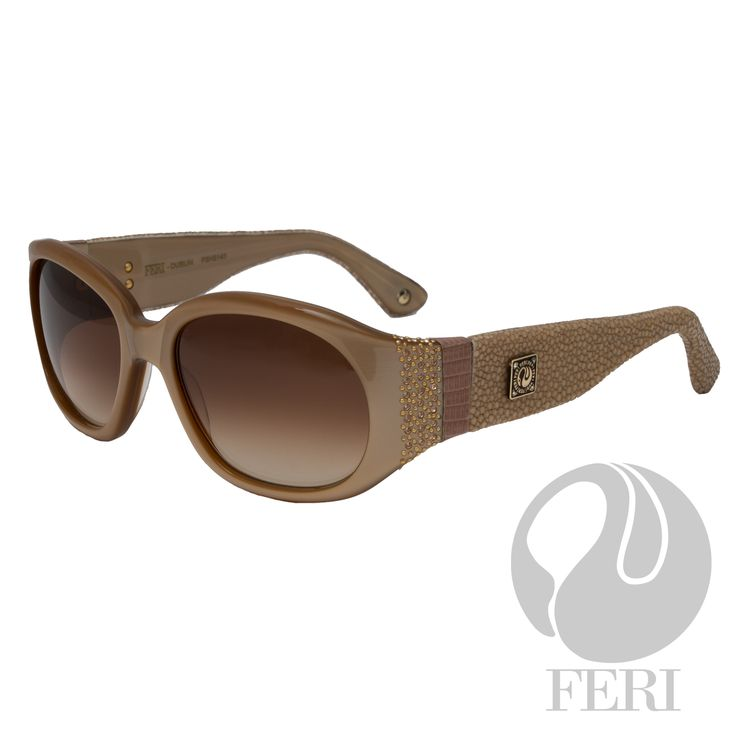 GWT Galleries, FERI Designer Lines, Beige Acetate Sunglasses. Acetate is used for its shine, color depth and durability Embellished with coloured stones and genuine lizard skin