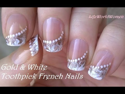TOOTHPICK NAIL ART #5 / Gold & White Side FRENCH MANICURE Design - YouTube