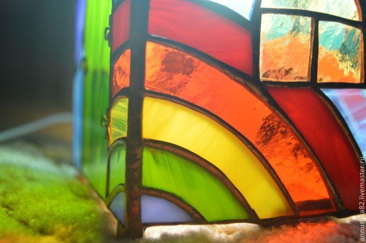 """Купить """"Радужный домик"""" витражный светильник - радуга, лето, стекло, освещение, светильник, детская"""
