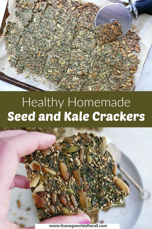 Healthy Homemade Seed And Kale Crackers Recipe In 2020 Veggie Snacks Healthy Homemade Homemade Seed Crackers