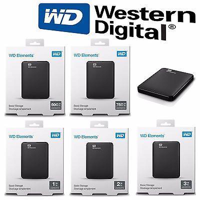 Disque dur Externe USB 3.0 Western Digital WD Elements 500GB 750GB 1TB 2TB 3 TO | eBay
