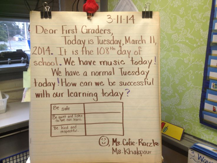 A great example of weaving classroom rules into the message while gathering data on a tally chart.