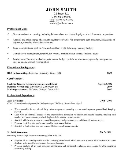 31 best Best Accounting Resume Templates \ Samples images on - sample resume for accounting position