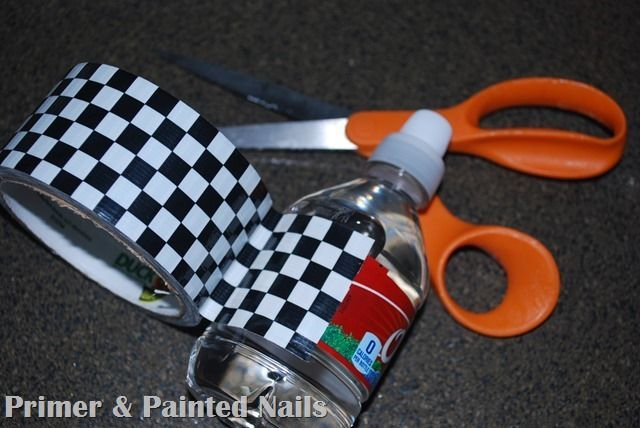 Use duct tape as water bottle wrappers for a Cars party! Easy and inexpensive!