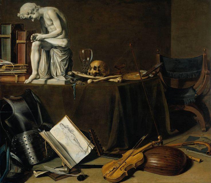 Pieter Claesz, Vanitasstilleven met doornuittrekker 1628 (70,5 x 80,5 cm) Amsterdam, Rijksmuseum; Verschillende kleine stillevens lijken hier te zijn gecombineerd tot één schilderij. Rechtsvoor liggen een paar muziekinstrumenten, daarnaast een harnas en wat boeken. Op de tafel staan nog meer boeken, een gipsen beeld, botten, een schedel en wat schildersbenodigdheden. De beenderen en het doodshoofd maken duidelijk wat met dit schilderij bedoeld wordt: het gaat hier om de vergankelijkheid…