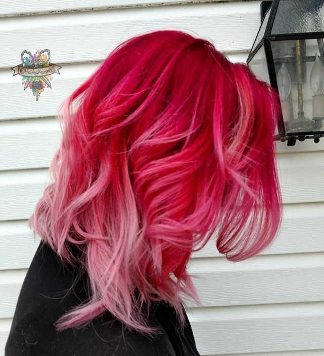 WEBSTA @ hairbykaseyoh - Cherry popping on my girl @hairbykhuey  I used @pulpriothair fireball,noir,lemon all mixed with #brazilianbondbuilder #b3  #behindthechair #modernsalon #americansalon #hairbykaseyoh #beautyinsider #imallaboutdahair