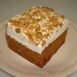 This is a very moist carrot cake using baby food carrots. I frost it with a Cream Cheese Frosting, then cut into bars.
