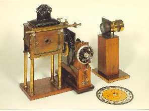 The zoopraxiscope is an early device for displaying motion pictures. Created by photographic pioneer Eadweard Muybridge in 1879, it may be considered the first movie projector. The zoopraxiscope projected images from rotating glass disks in rapid succession to give the impression of motion. The stop-motion images were initially painted onto the glass, as silhouettes. A second series of discs, made in 1892-94, used outline drawings printed onto the discs photographically, then colored by…