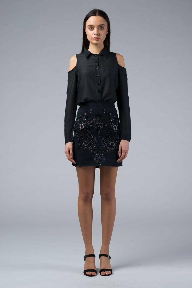 Black Embroidered Skirt, Buy Online Mini Skirt - IMAIMA