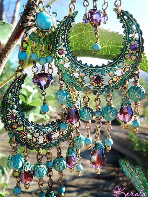 Large Exotic Moroccan Moon Earrings, Turquoise Bohemian Gypsy Chandelier Earrings, Amethyst Purple Crystal and Gemstone Hoop Earrings