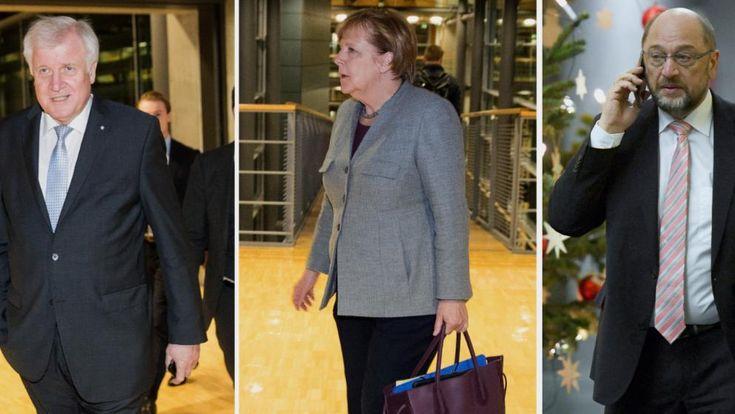 Am Mittwoch gibt es das erste Treffen zwischen Union und SPD. Mit dabei CSU-Chef Horst Seehofer (l.), CDU-Chefin Angela Merkel und SPD-Chef Martin Schulz