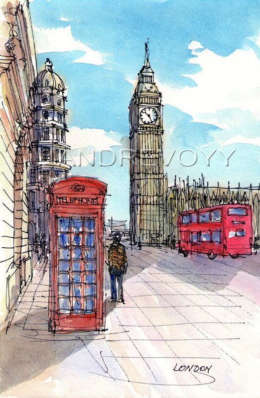 Titel: London Bridge Street Big Ben This is an archival quality print from my original pen drawing and watercolor painting.  Printed on high quality
