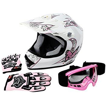 Amazon.com: Youth Offroad Gear Combo Helmet Gloves Goggles DOT Motocross ATV Dirt Bike MX Motorcycle Pink - Small: Automotive
