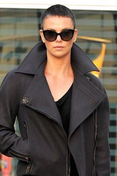 charlize theron mad max hair - Google Search -- I love everything about this look.  The hair, the coat, the sunglasses, everything.