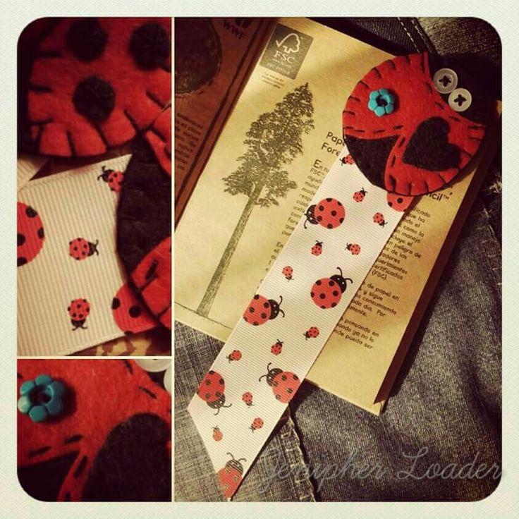 Bookmarks lady bug fieltro felt feltro felting craft diy