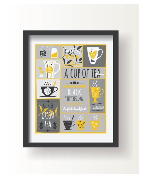 Yellow White Gray Tea Poster Kitchen Poster Kitchen Decor