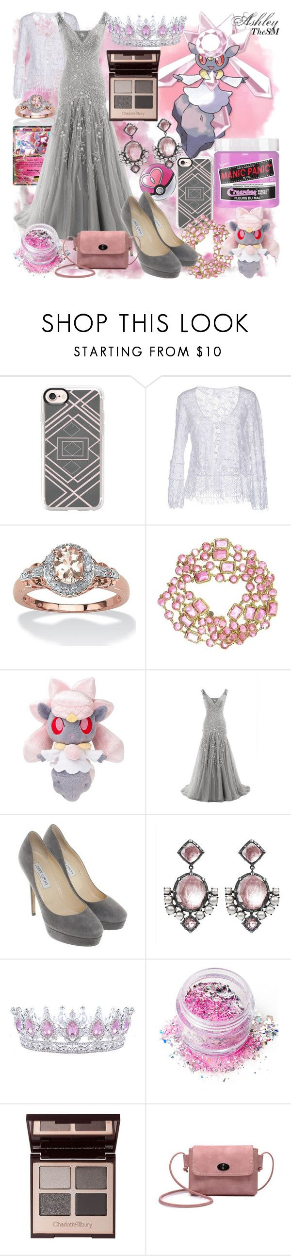 """""""Fairy Type Trainer - Diancie"""" by ashleythesm ❤ liked on Polyvore featuring Casetify, Temptation, Palm Beach Jewelry, Chanel, Jimmy Choo, Larkspur & Hawk, In Your Dreams and Charlotte Tilbury"""