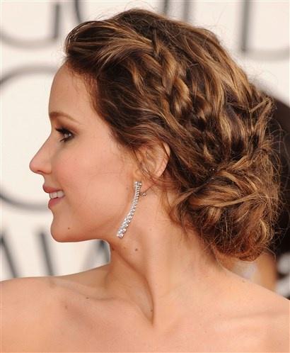 Hot Celeb Hair – Jennifer Lawrences braided chignon (© Getty Images)
