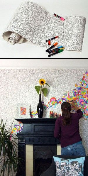 color your own wallpaper - this could be cool in a teen zone in the library...