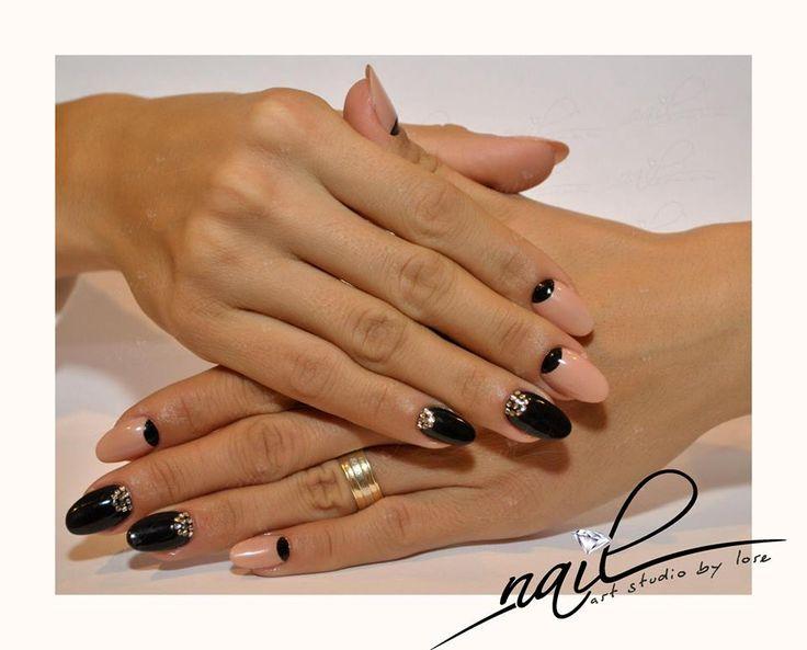 nails black nude stones creamy moon