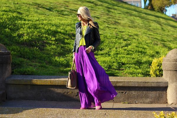 I would love to: Black Leather Jackets, Colors Combos, Purple Skirts, Style, Long Skirts, Fashion Blog, Alice Olivia, Neon Yellow, Maxi Skirts