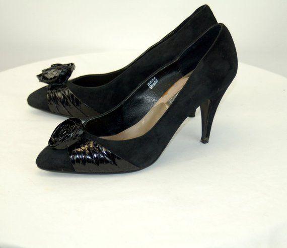 c8441654ee25b 1980s heels pumps black suede snakeskin flower pointed toe J renee ...
