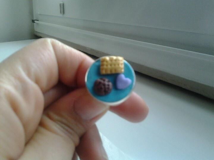 Anello con biscottino cioccolatino e ♥ made by Aicha & Martina di Shabby & Llifestyle♡♡follow us!