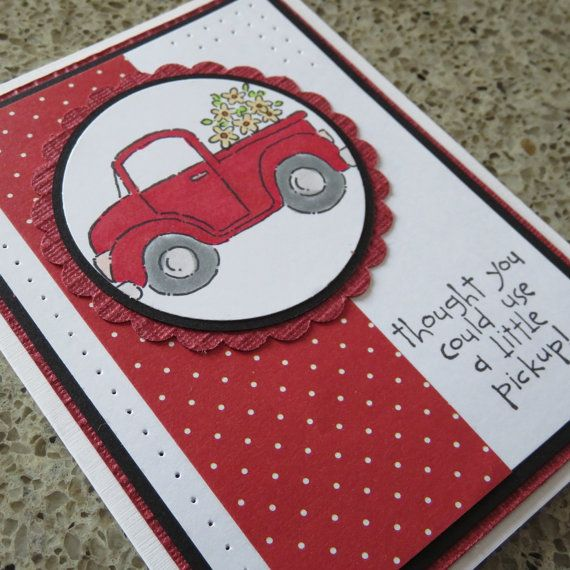 Hand made greeting card, Pickup Truck - Use a little pickup, feel better, red