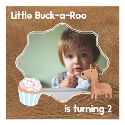Little Buckaroo Second Birthday Picture Card - birthday gifts party celebration custom gift ideas diy