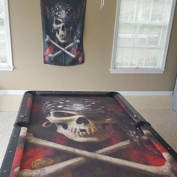 Pool Table Felt Designs custom harley davidson pool cloth tan Skull And Crossbones Custom Artscape Pool Table Felt