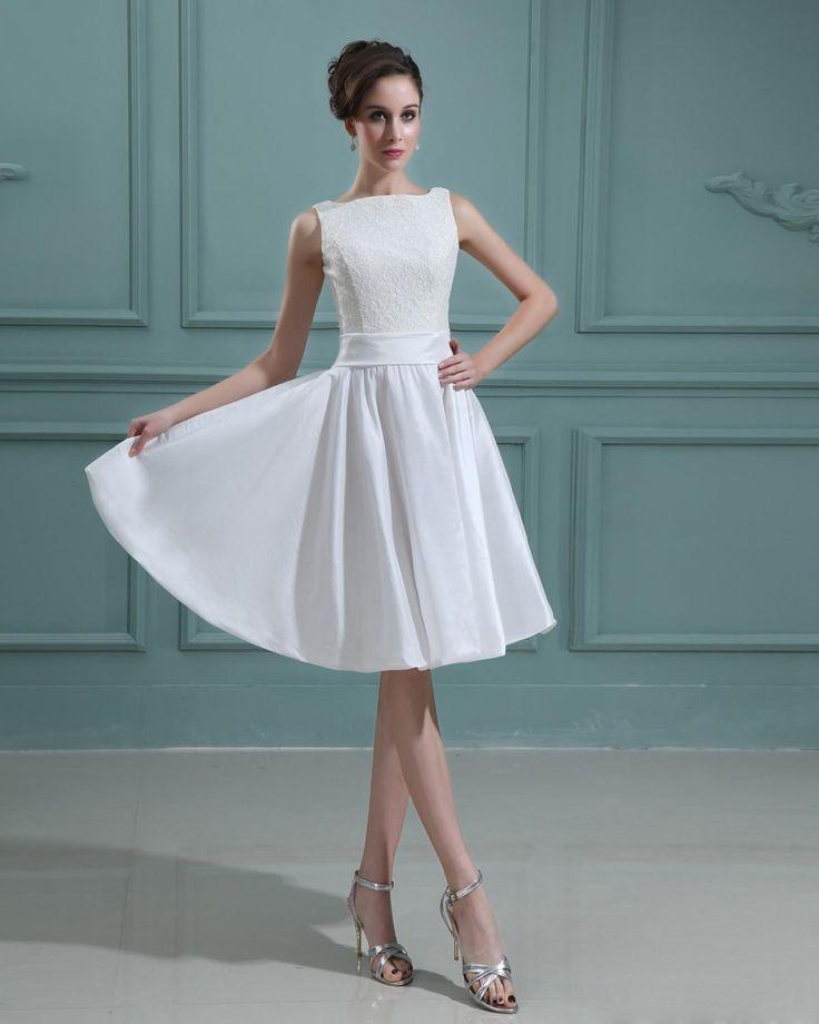 Taffeta Bateau Knee Length Lace Mini Wedding Dress