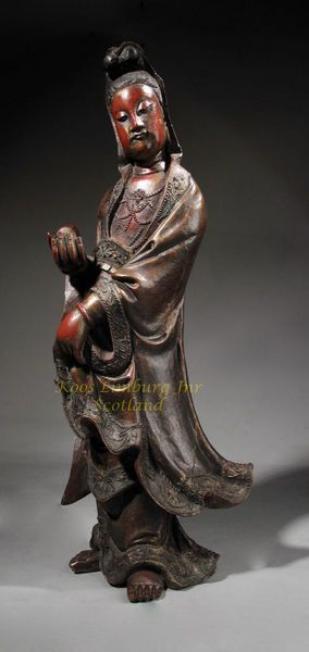 Chinese Wooden Lacquer Sculpture of Guanyin