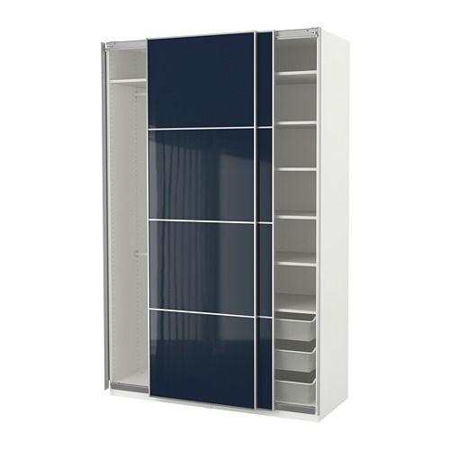 IKEA - PAX Wardrobe white Hokksund, high gloss black-blue dark blue