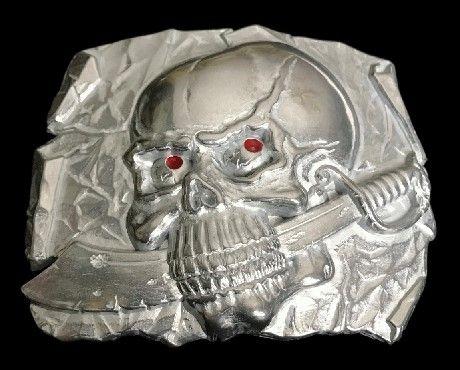 Pirate Skull Head Sword Dagger Skeleton BeltBuckle #skull #skullbuckle #skullbeltbuckle #skullwithknifeinmouth #beltbuckles #buckle #coolbuckles