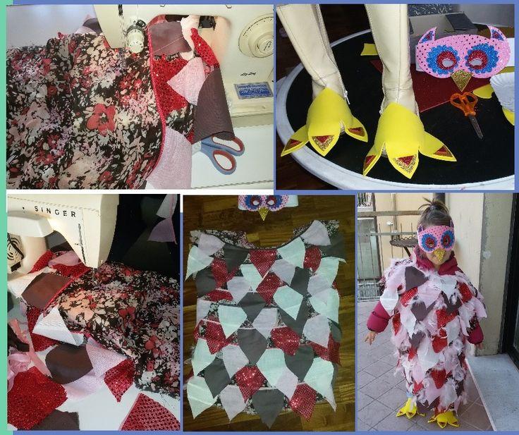 VESTITO CARNEVALE GUFO FAI DA TE ritagli di stoffa, sbieco, rettangolo di stoffa da usare come base e piume + zampe e maschera di gomma crepla *** DIY dress carnival owl  *** Handmade Disfraz carnaval búho