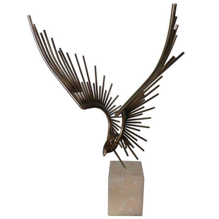 Metal Eagle Sculpture By C. Jere | From a unique collection of antique and modern sculptures at https://www.1stdibs.com/furniture/more-furniture-collectibles/sculptures/