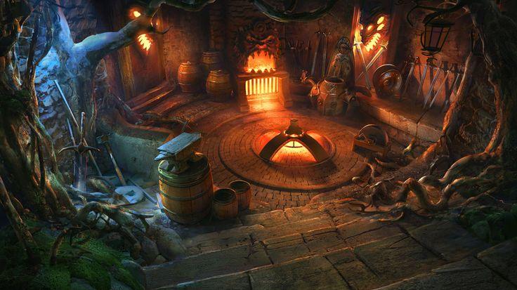 inside cabin deviantart vityar83 fantasy game environment witch drawing rpg interior room medieval underground drawings paintings digital beast legends wizard