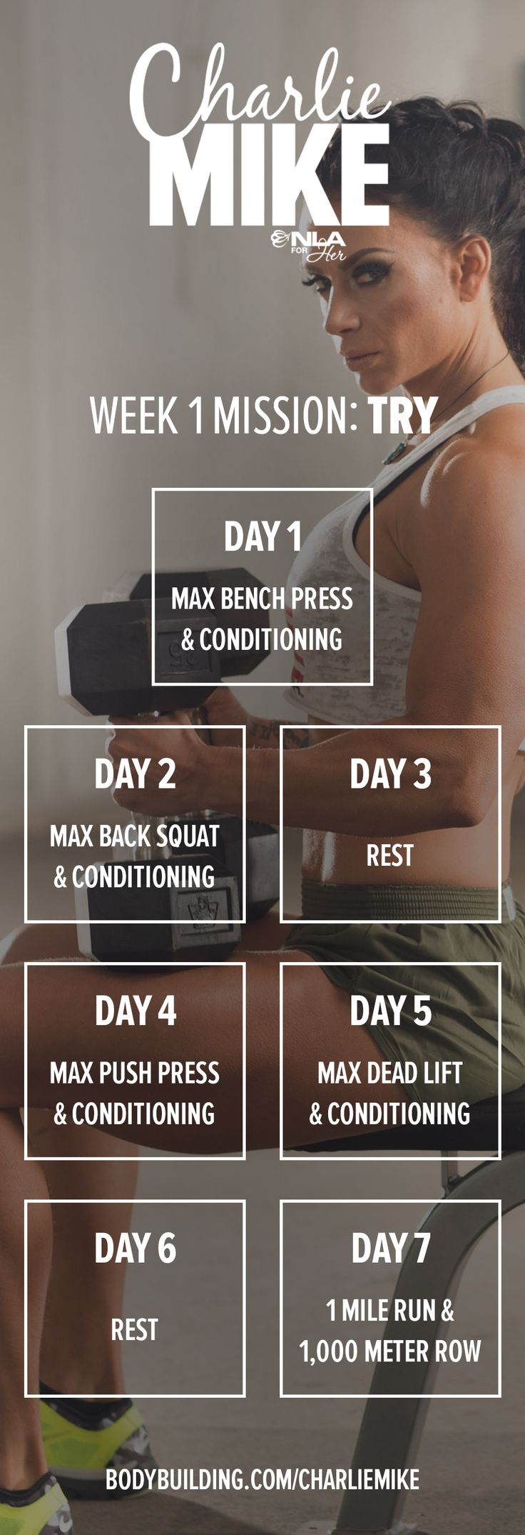 ASHLEY HORNER'S CHARLIE MIKE: 6-WEEK FITNESS PLAN.  Welcome to your first day of Charlie Mike! Your mission this week can be summed up in a single word: TRY.