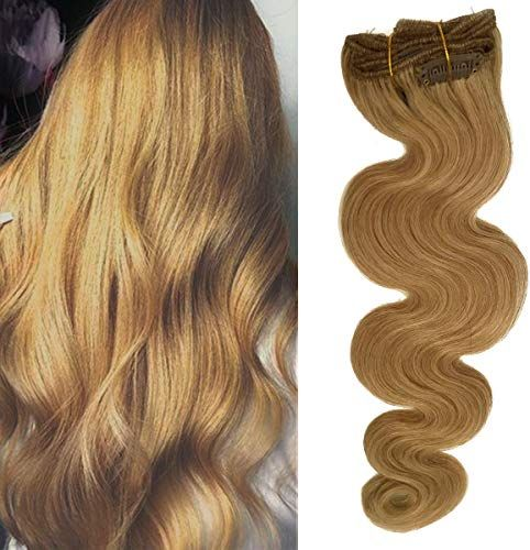 Buy Double Weft Curly Clip Remy Human Hair Extensions Strawberry Blonde 27 20inch Long Soft Body Wave Hair Pieces Women 70g Full Head online