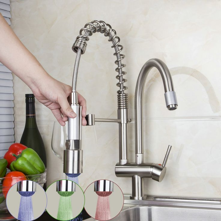 Double Spout Solid Brass Spring Pull Out Kitchen Faucet Nickel Brushed Kitchen LED Faucet 8525-7D