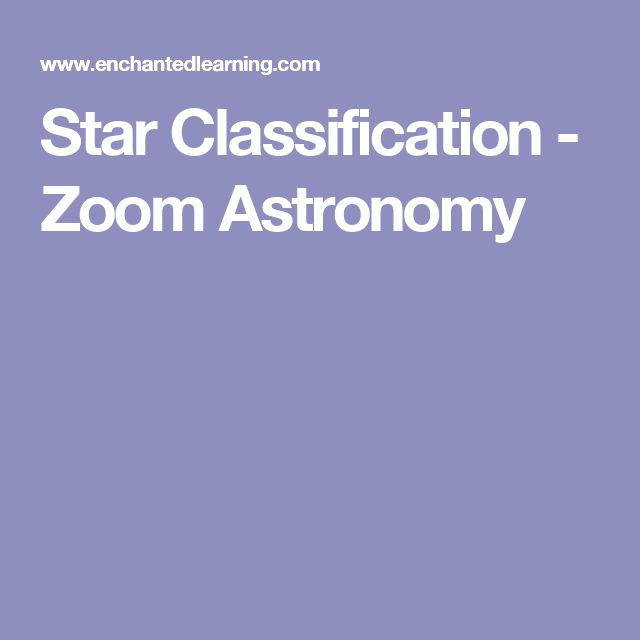 Star Classification - Zoom Astronomy